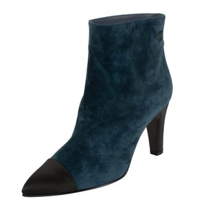 Chanel Calfskin Ankle Satin Coco Suede Blue Boots