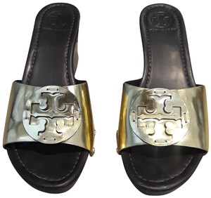006dcafad Tory Burch Wedge Couture Leather Logo Brown and Gold Sandals