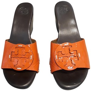 Tory Burch Wedge Couture Leather Logo Brown and Orange Sandals