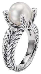 David Yurman GORGEOUS! David Yurman Cable Pearl and Diamond Ring Sterling Silver 10mm Freshwater White Pearl 0.05 carat Total Weight Pave Diamonds 4mm Split Shank RARE Size 8 100% Authentic Guaranteed!! Comes with Original David Yurman Pouch!!