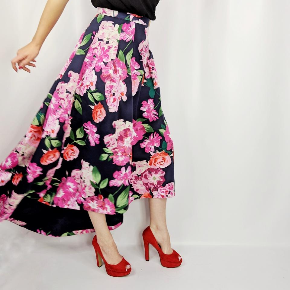 1fc68e612 Eliza J Navy Blue High Low Floral Ball Skirt Size 2 (XS, 26) - Tradesy