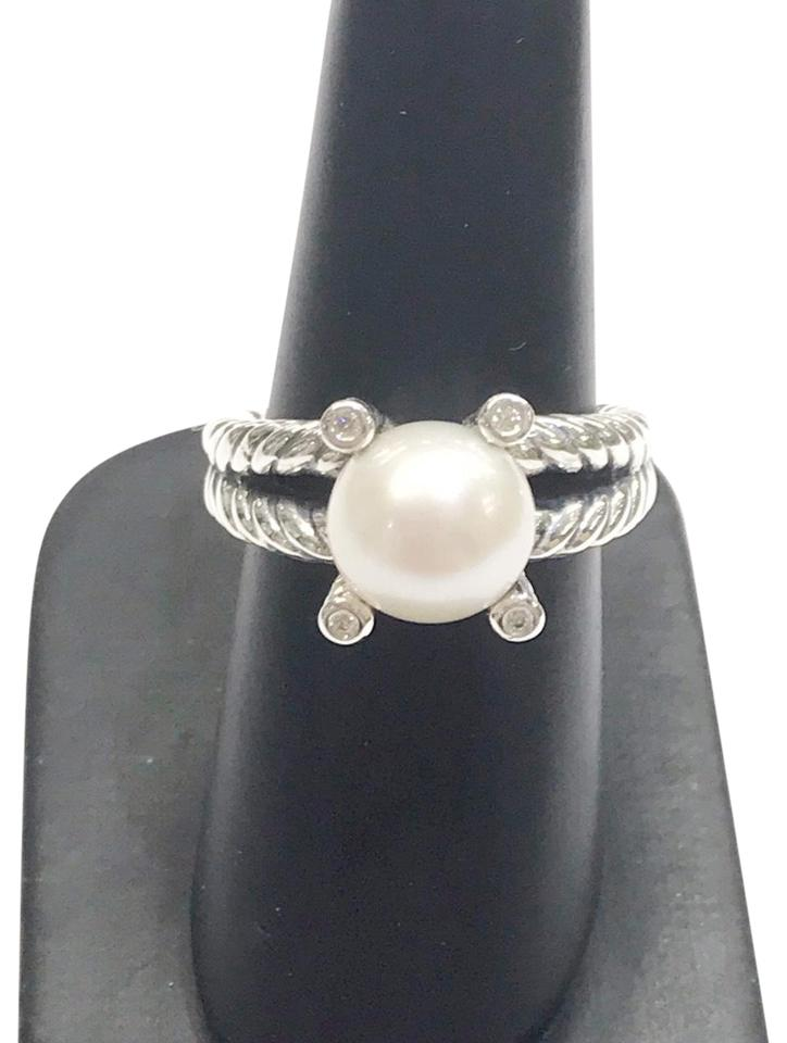 8cacabca5ede6 David Yurman Cable Pearl and Diamond Sterling Silver 10mm Freshwater White  Pearl 0.05 Carat Total Weight Pave 4mm Ring 37% off retail