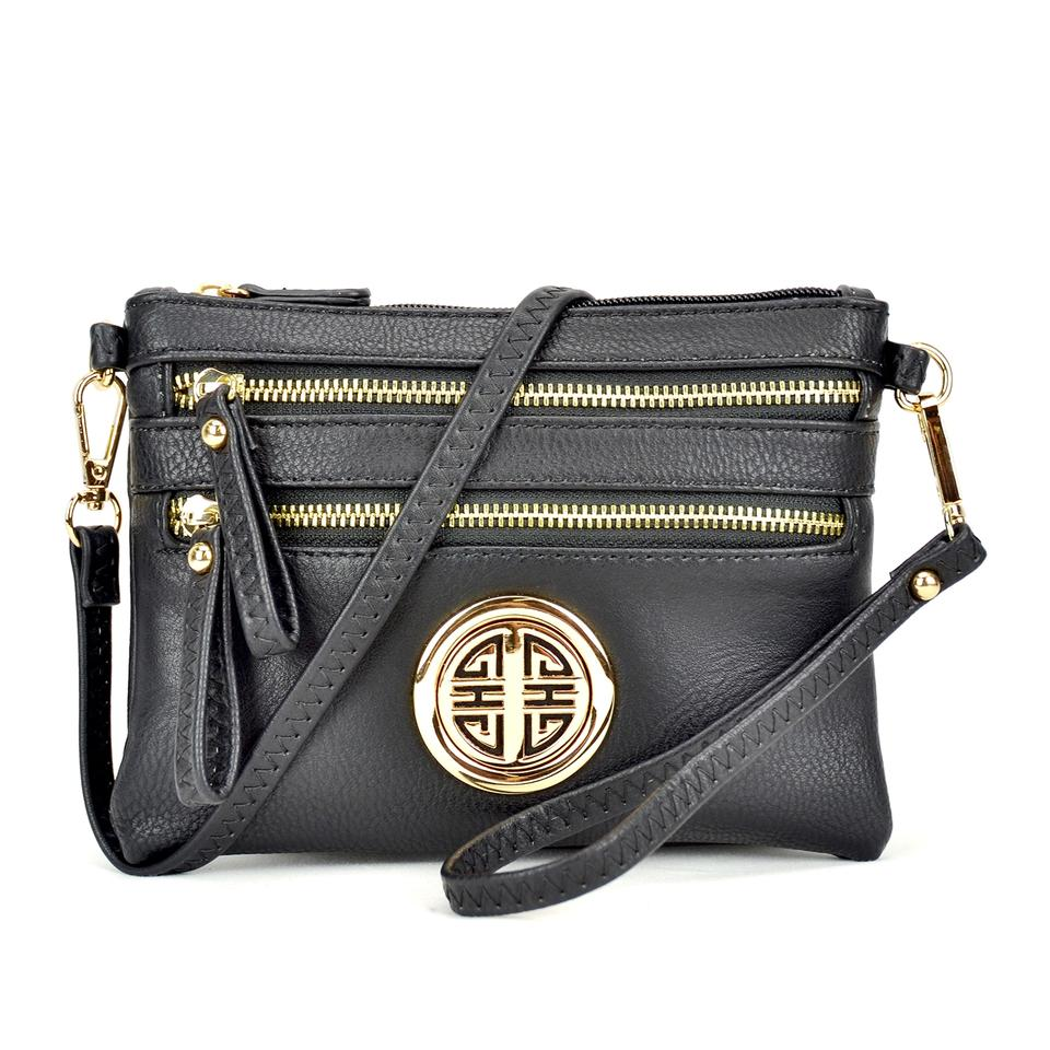 All-in-one Soft Crossbody  Clutch Black Faux Leather Messenger Bag ... 8b2b5e46c7362