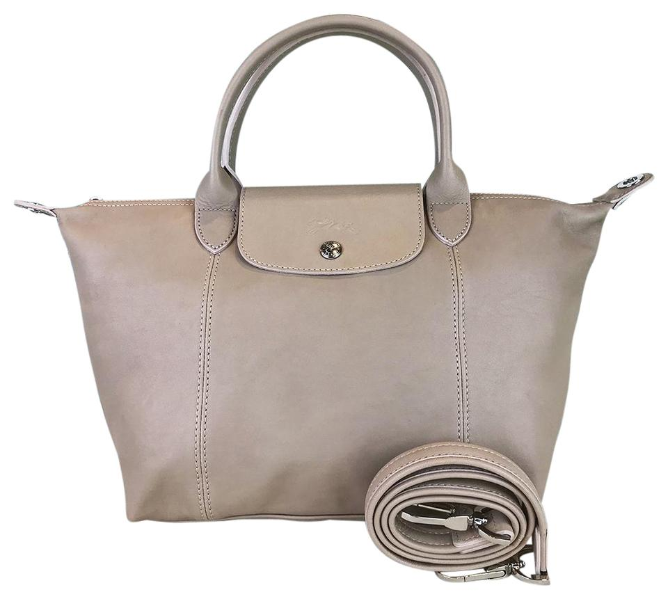 e1247b2f4 Longchamp Shoulder Bag Cuir Le Pliage Top Handle Small Sale Beige Leather  Tote