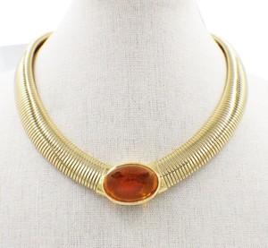 Cartier Vintage Cartier Amber Cabochon Collar Necklace 18k Yellow Gold