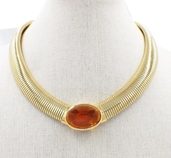 Item - Amber Vintage Cabochon Collar 18k Yellow Gold Necklace