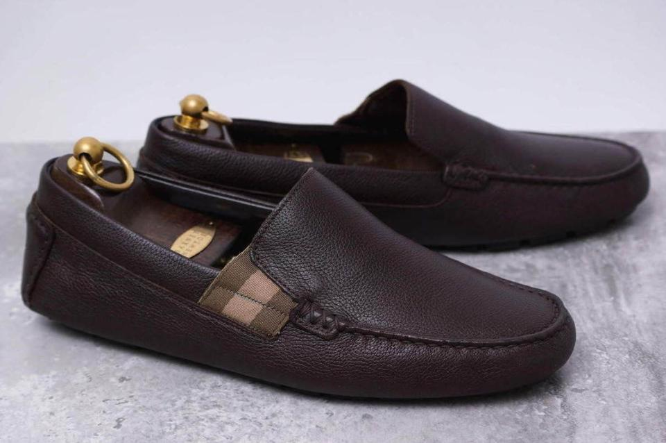 bdc891e4e10 Gucci Brown Leather Web Logo Driver Moccasin Loafers G 8.5 Us 9.5  363835  Shoes Image ...