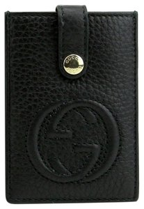 Gucci Women's Soho Black Leather Interlocking G Card Holder 338331 1000