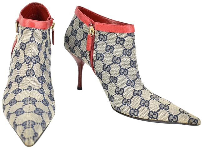 """Item - Red Leather """"Gg"""" Logo Ankle Boots/Booties Size US 8.5 Regular (M, B)"""