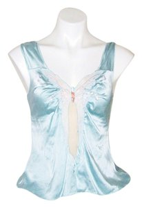Rebecca Taylor Silk Butterfly Sheer Cut Out Top Blue