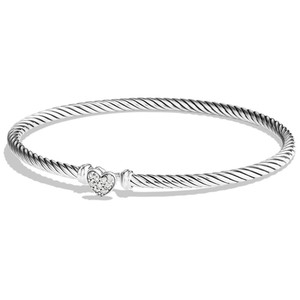 "David Yurman GORGEOUS!! LIKE NEW!!! David Yurman Cable Collectibles Heart Bracelet with Diamonds 3mm Sterling Silver Diamonds weighing 0.09 carats total weight Hook Clasp 3mm Size: Small 6.75"" 100% Authentic Guaranteed!!! Comes with Original David Yurman Pouch!!!"