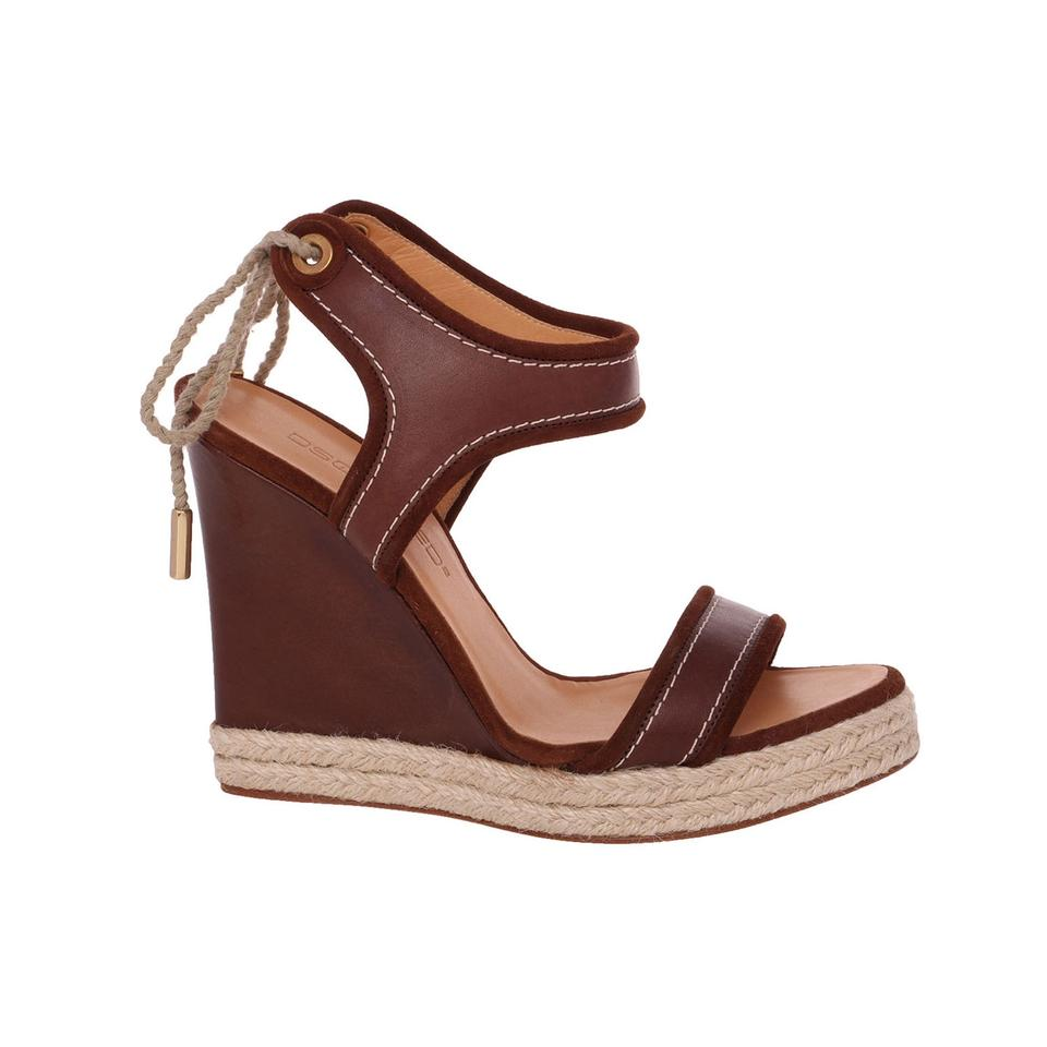 6925eea0ee9 Dsquared2 Brown New Genuine Leather Open Toe Rope Platform Wedges ...