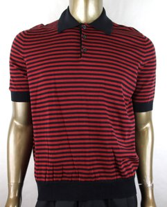 Gucci Blue/Red Blue/Red Striped Fine Cotton/Cashmere Polo 411737 4027 Shirt