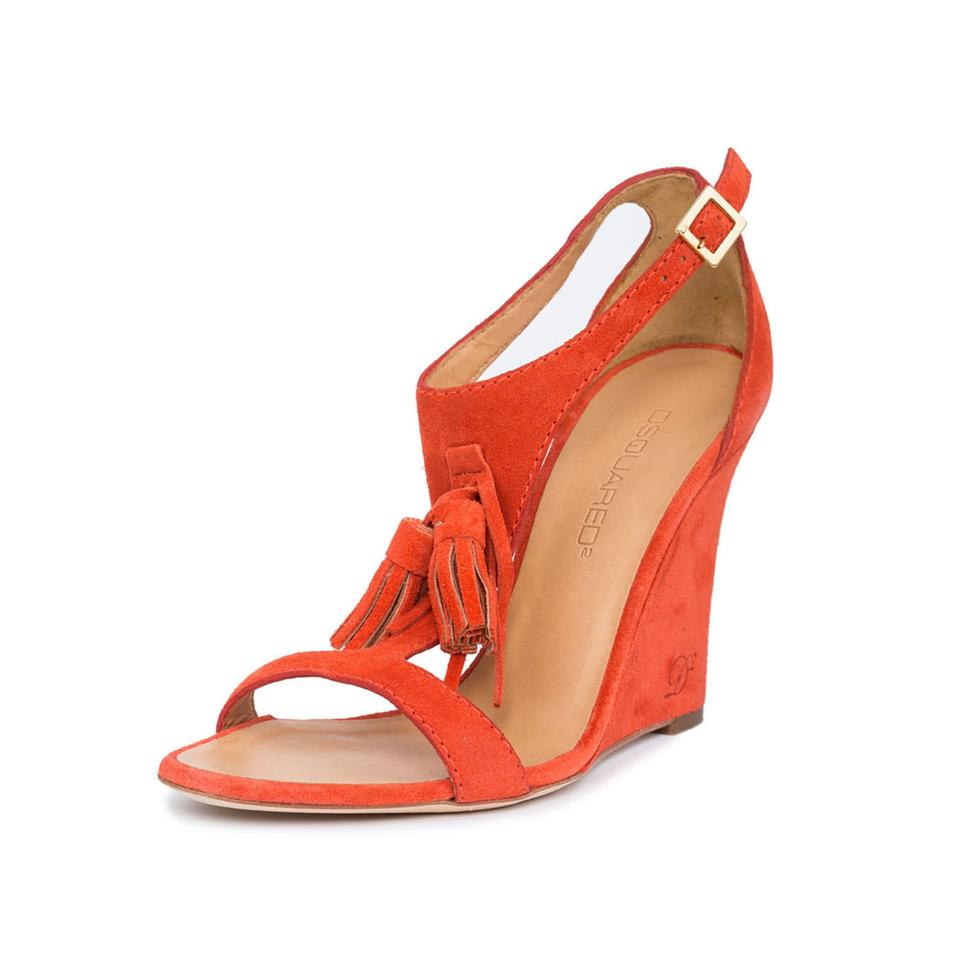 508010e98db Dsquared2 Orange New Dsq2 Suede Leather Open-toe T-strap Tassel Detail Wedges  Sandals
