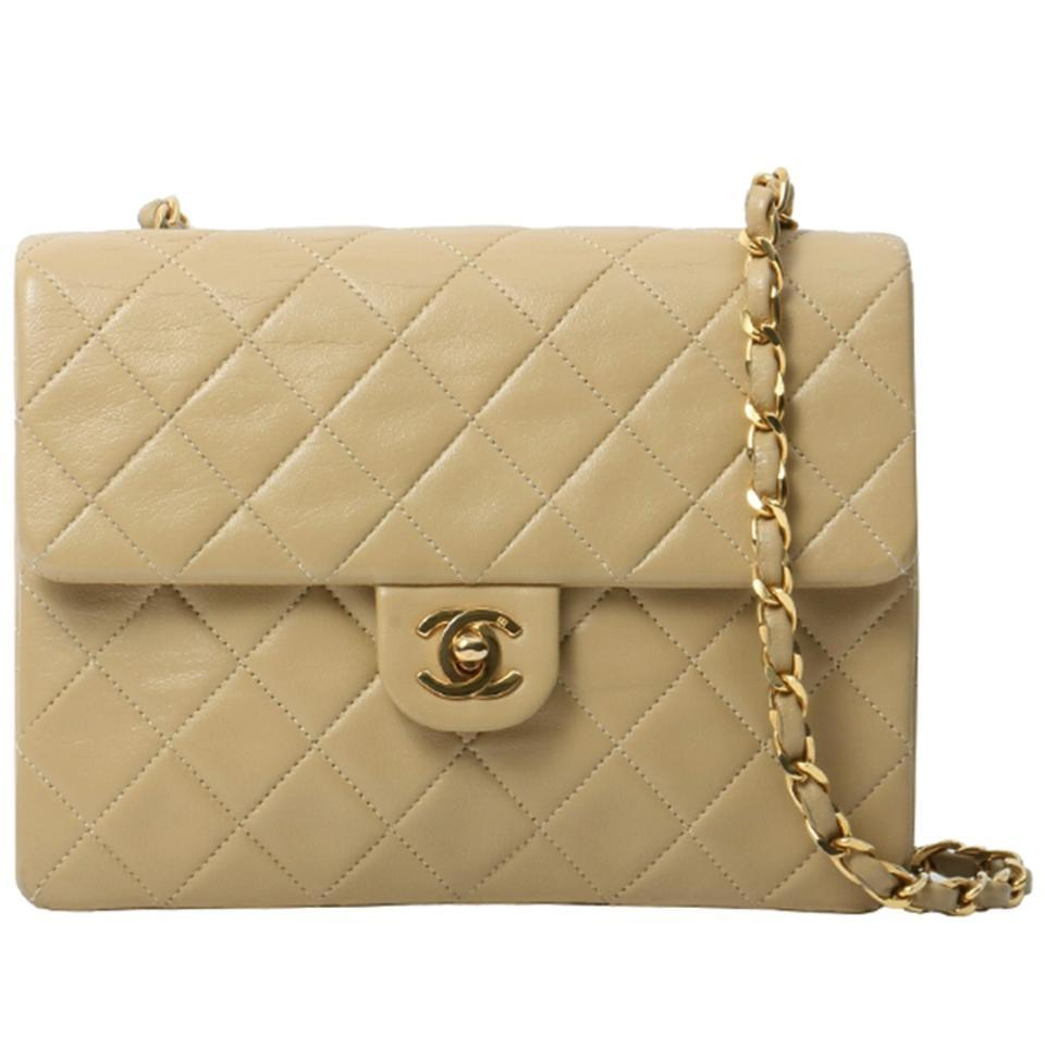 f2a96246c9e4 Chanel Vintage Quilted Square Flap Beige Lambskin Leather Cross Body Bag