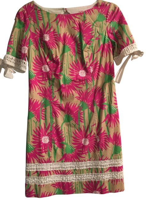 Preload https://img-static.tradesy.com/item/24403827/lilly-pulitzer-tanpinkgreen-fiesta-short-casual-dress-size-2-xs-0-2-650-650.jpg