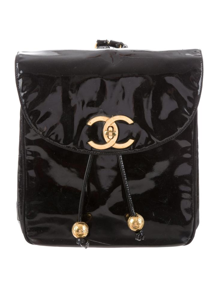 f92194701558 Chanel Vintage Patent Leather Gold Hardware Rare Backpack Image 0 ...