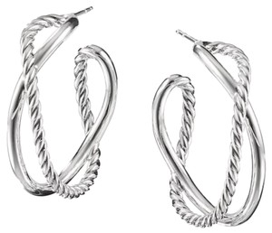 David Yurman GORGEOUS!! LIKE NEW!!! David Yurman Crossover Hoop Sterling Silver Earrings Sterling Silver 34mm Diameter 100% Authentic Guaranteed!!! Comes with Original David Yurman Pouch!!!