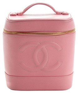 Chanel Authentic CHANEL Vintage Caviar Vanity Cosmetic Case Pink