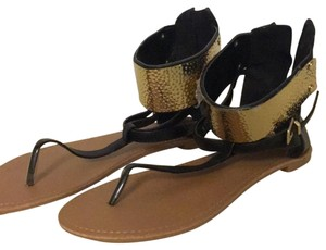 Qupid black and gold Sandals