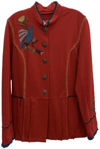 Double D Ranchwear Pleated Embroidered Embellished Red Jacket