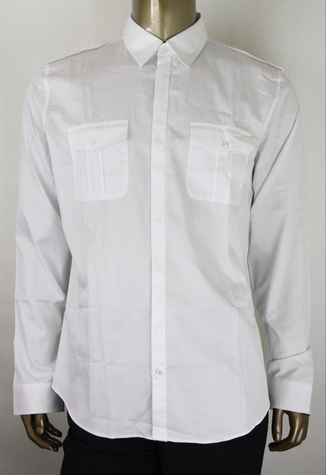 fc603f1a Gucci White Skinny Long Sleeve Button Up 46/18 333601 Z0868 9000 Shirt