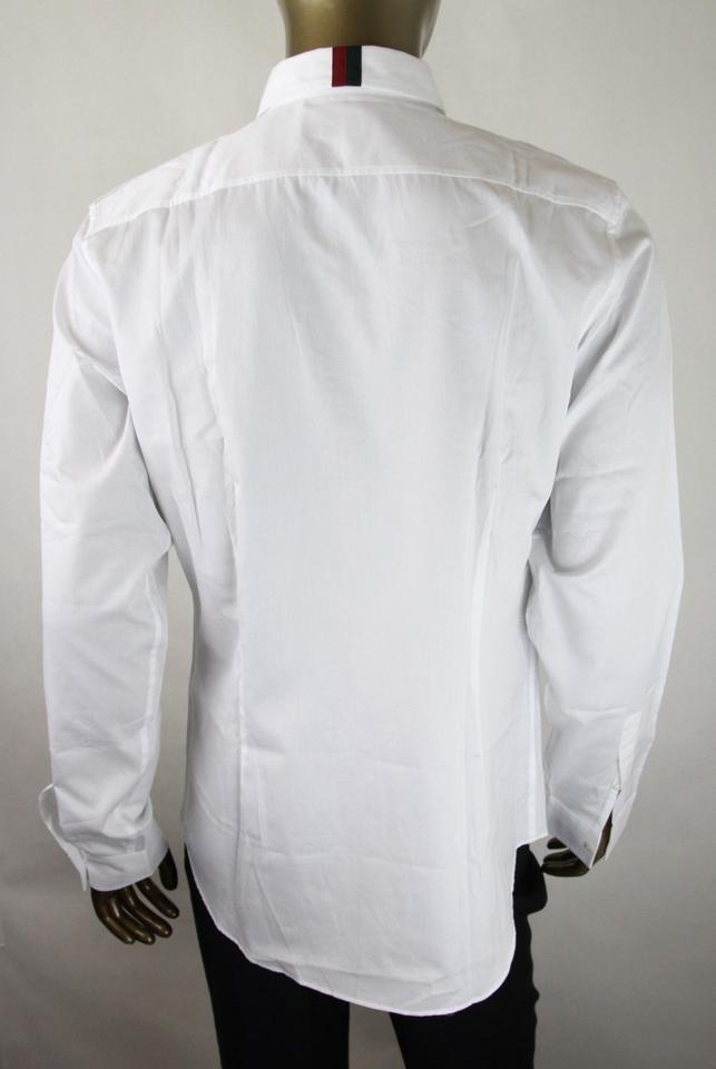 1e71fb72 Gucci White Skinny Long Sleeve Button Up 46/18 333601 Z0868 9000 Shirt  Image 9. 12345678910