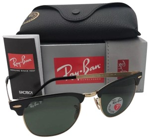 Ray-Ban Polarized RAY-BAN Sunglasses CLUBMASTER METAL 3716 187/58 Black-Gold
