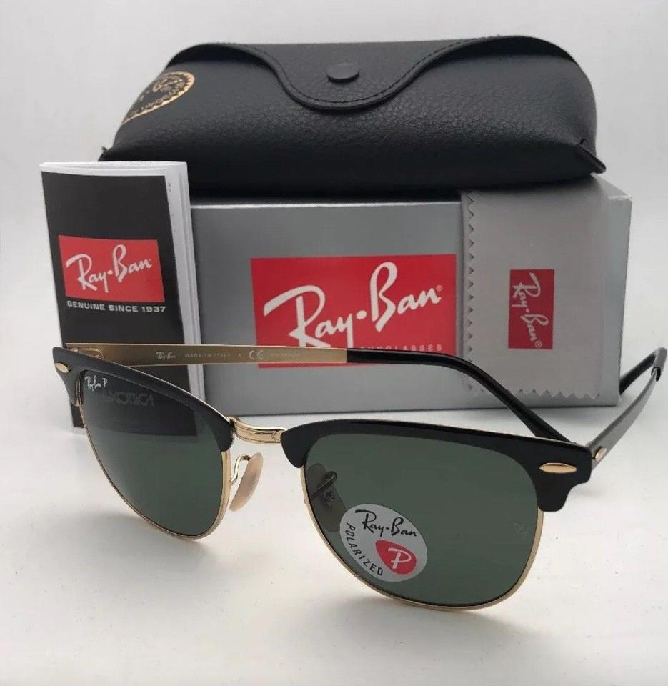 99539a9e9c681 Ray-Ban Polarized Clubmaster Metal Rb 3716 187 58 Black-gold W ...