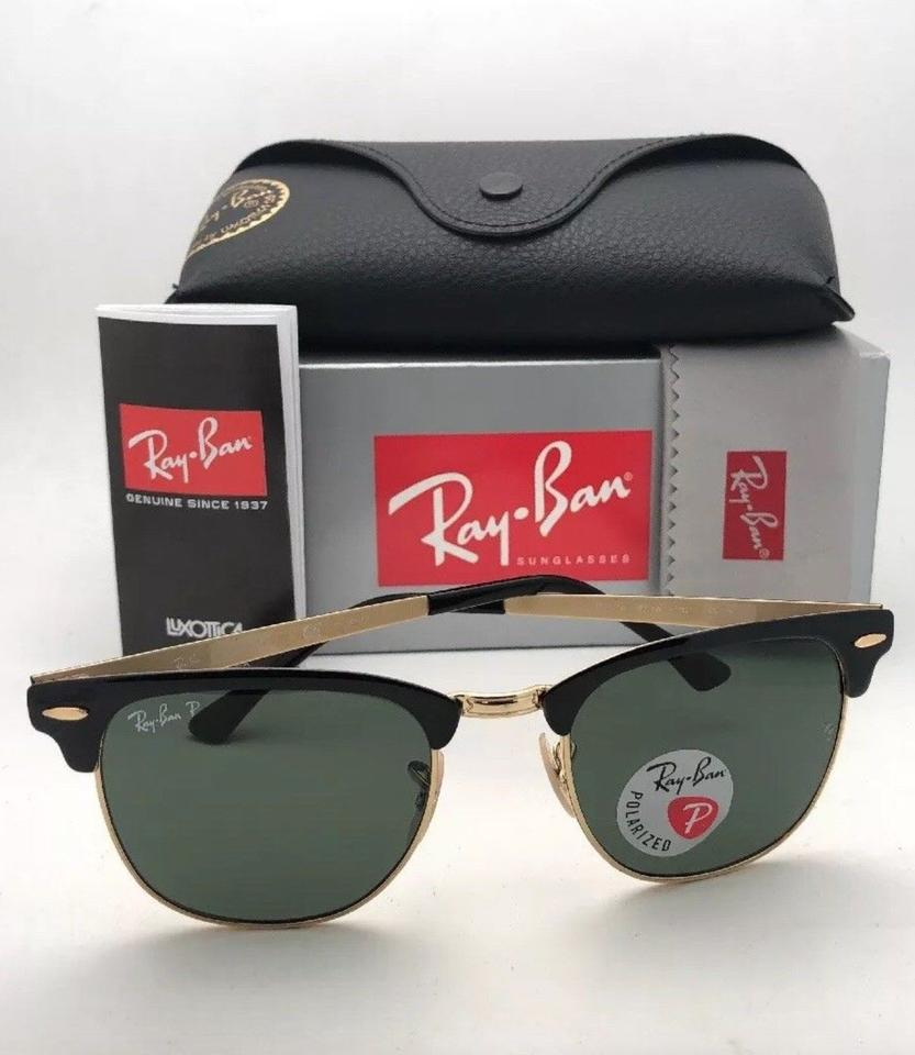 cb9ddf61a23 Ray-Ban Polarized Clubmaster Metal Rb 3716 187 58 Black-gold W  Green  Lenses 187 58 Sunglasses - Tradesy