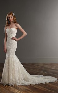 Martina Liana Champagne Royal Organza Over Alabaster Luxe Satin - Porcelain Tulle Illusion Lace 771 Modern Wedding Dress Size 10 (M)