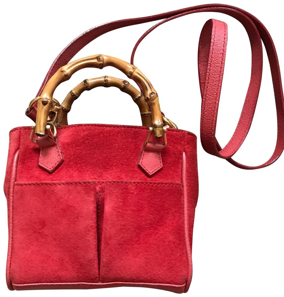 Gucci Strap Wallet Vintage Bamboo Red Suede Leather Shoulder Bag ... f9fb8abff9542