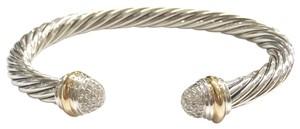 David Yurman David Yurman Pavé Diamond Two Tone Classic Cable Bracelet Sterling silver and 18k yellow gold Beautiful pavé style diamonds at both ends of bangle with 18k yellow gold bands Cuff Bracelet Medium 7mm 100% Authentic Guaranteed Comes inside original David Yurman pouch!