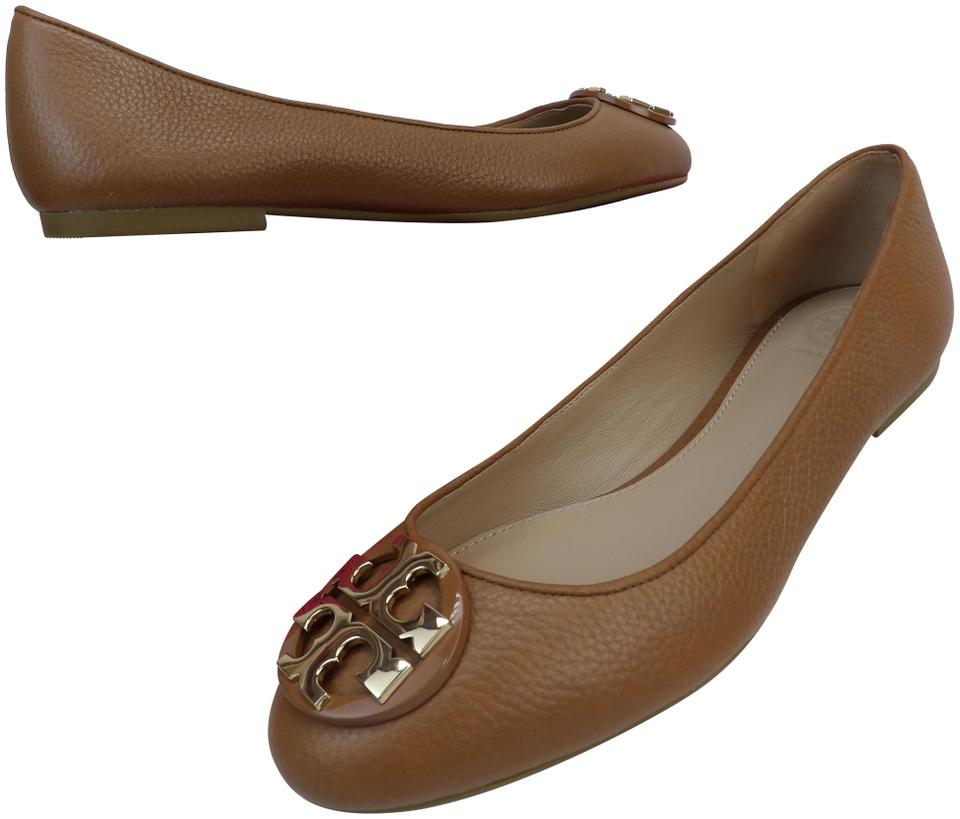 9dc61f7af215 Tory Burch Brown Claire Tan Tumbled Leather Gold Tone Reva Ballet ...