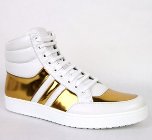Gucci White/Gold 9068 Men's Contrast Padded Leather High-top Sneaker 10.5g/Us 11 368494 Shoes