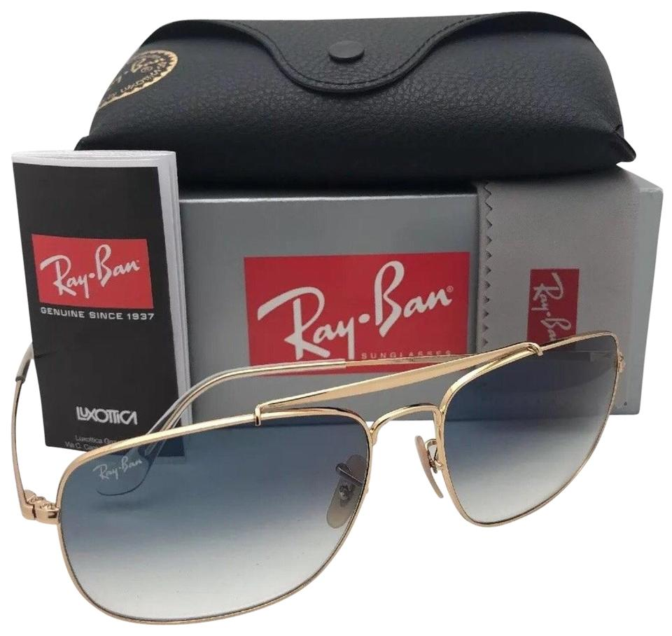 d7f63d7a15 Ray-Ban New The Colonel Rb 3560 001 3f 61-17 Gold Aviator W  Blue ...
