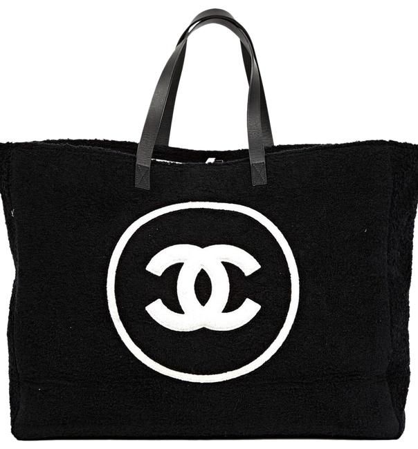 Item - Shopping Top Handle Tote Cotton Beach Black and White Terry Cloth Weekend/Travel Bag
