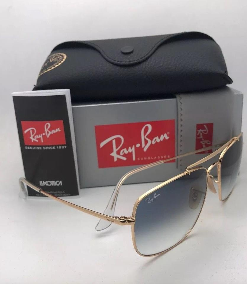 89edeb28a6 Ray-Ban New The Colonel Rb 3560 001 3f 58-17 Gold Aviator W  Blue ...