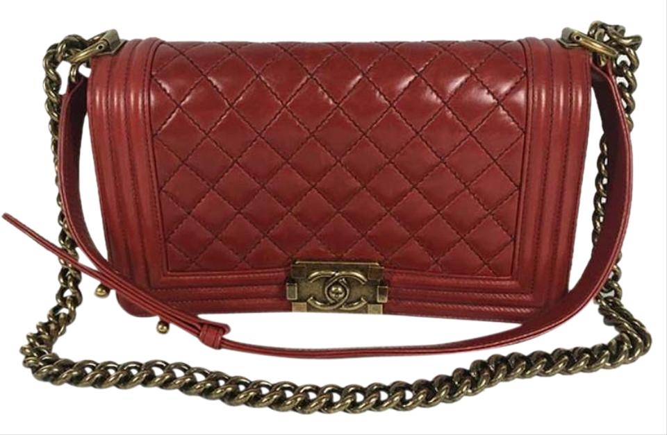 40d1acfe23fd Chanel Boy Old Medium Single Red Lambskin Leather Shoulder Bag - Tradesy