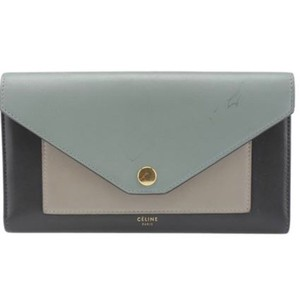 Céline Celine envelope green color block leather Tri-fold wallet