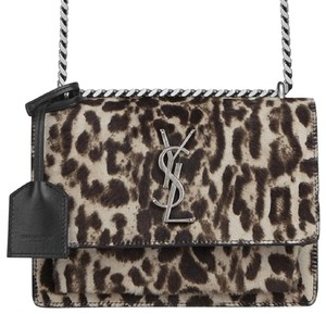 Saint Laurent Gold Hardware Chain Leather Leopard Shoulder Bag