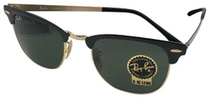 Ray-Ban New RAY-BAN Sunglasses CLUBMASTER METAL RB 3716 187 Black & Gold w/G15