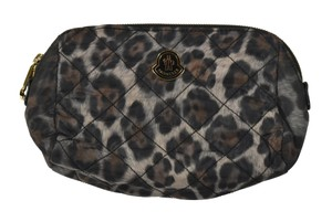 Moncler Moncler Black Leopard Print Beauty Case Make Up Bag New $180