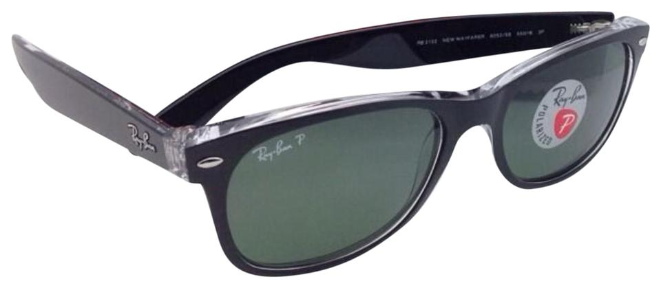 658b2b51c73 Ray-Ban Polarized Rb 2132 6052 58 55-18 New Wayfarer Black On Clear ...