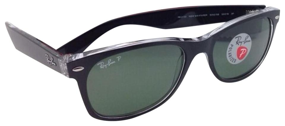 0094ff45c33 Ray-Ban Polarized Rb 2132 6052 58 52-18 New Wayfarer Black On Clear ...