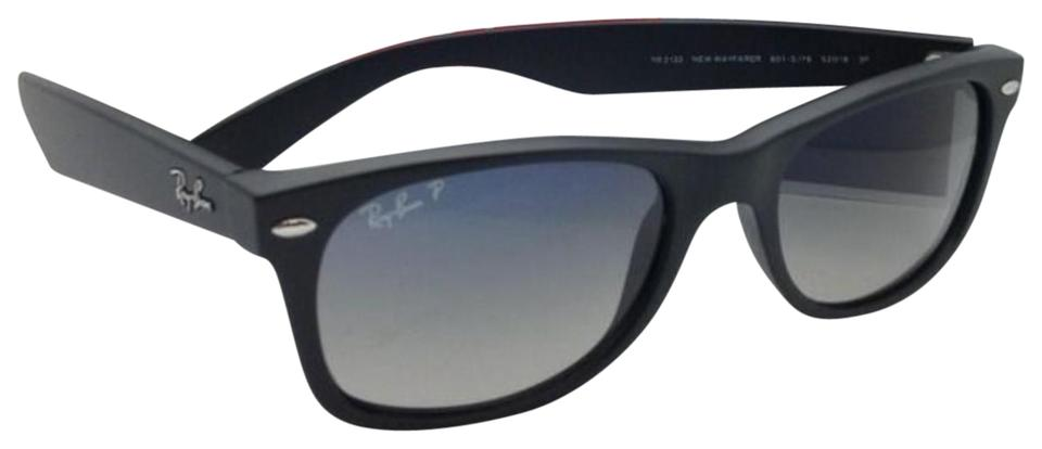 40b46c45839 Ray-Ban Polarized Rb 2132 New Wayfarer 601-s 78 52-18 Black W  Blue ...