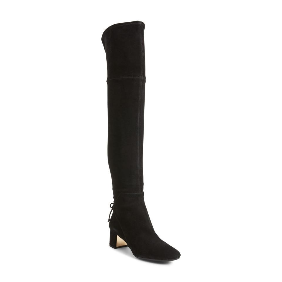 d6718197ff94 Tory Burch Black Laila Suede Bow Gold Reva Zip Over The Knee Boots Booties