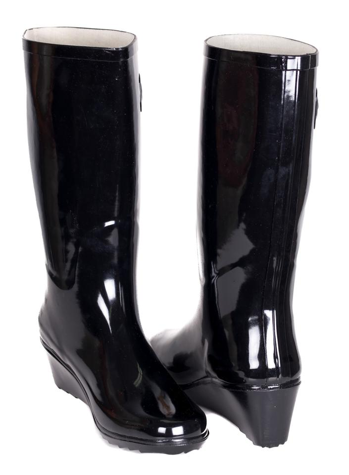 30cba684780 Forever Young Black Tall Women Wedge Rainboots #3100 Boots/Booties Size US  9 Regular (M, B) 52% off retail