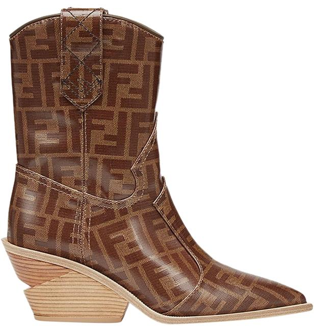 Item - Brown Cowboy Western Leather Ff Logo Pointed Toe Heel Boots/Booties Size EU 36.5 (Approx. US 6.5) Regular (M, B)