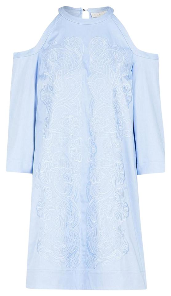 d67f63472922 Ted Baker Blue Jettas Cold Shoulder Embroidered Casual Dress. Size  6 (S)  ...